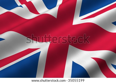 Detailed 3d rendering closeup of the flag of the United Kingdom.  Flag has a detailed realistic fabric texture. #35055199