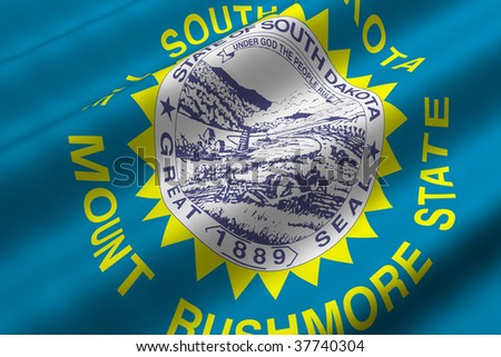 Detailed 3d rendering closeup of the flag of the US State of South Dakota.  Flag has a detailed realistic fabric texture.