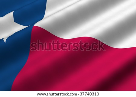 Detailed 3d rendering closeup of the flag of the US State of Texas.  Flag has a detailed realistic fabric texture.