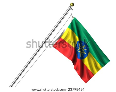 Detailed 3d rendering of the flag of Ethiopia hanging on a flag pole isolated on a white background.  Flag has a fabric texture and a clipping path is included.