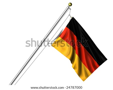 Detailed 3d rendering of the flag of Germany hanging on a flag pole isolated on a white background.  Flag has a fabric texture and a clipping path is included.