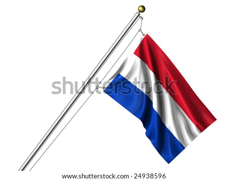 Detailed 3d rendering of the flag of The Netherlands hanging on a flag pole isolated on a white background.  Flag has a fabric texture and a clipping path is included.
