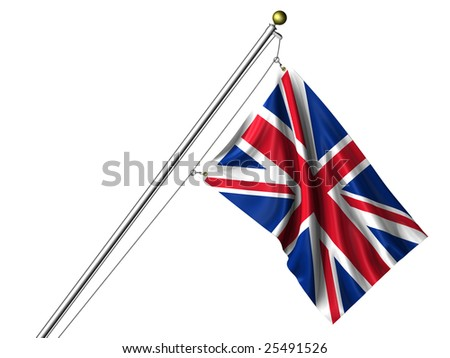 Detailed 3d rendering of the flag of the United Kingdom hanging on a flag pole isolated on a white background.  Flag has a fabric texture and a clipping path is included.