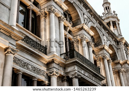 Detailed decorated facade of the Old City of London School by the Blackfriars Bridge, City of London, England, UK
