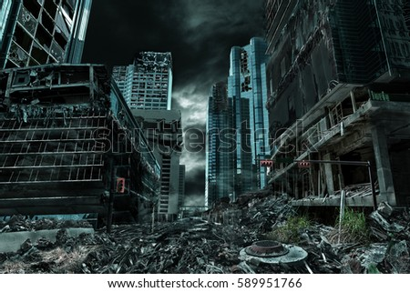 Detailed destruction of fictitious city with debris and collapsing structures. Concept of war, natural disasters, judgment day, fire, nuclear accident or terrorism.