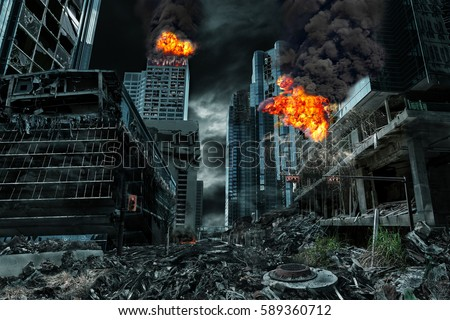 Shutterstock Detailed destruction of fictitious city with fires, explosions, debris and collapsing structures. Concept of war, natural disasters, judgment day, fire, nuclear accident or terrorism.