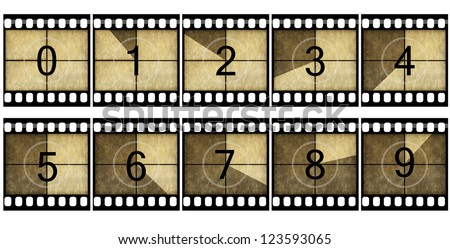 Detailed film countdown numbers