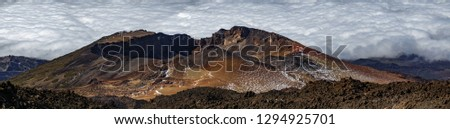Detailed gigapan panoramic view of Pico Viejo volcano crater, the second elevation in Spain, in Teide National Park, Tenerife #1294925701