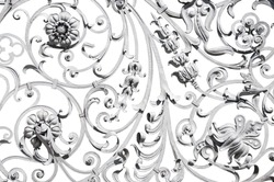 Detailed grey wrought ornate fence isolated on white
