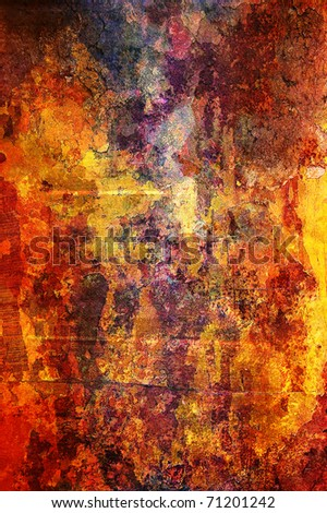 Detailed grunge background in red, orange, brown and yellow colors.
