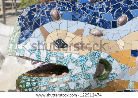 detailed head fragment of famous lizard sculpture from Barcelona Park Guell