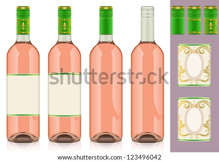 Detailed illustration of a Four ros�¨ wine bottles with label.