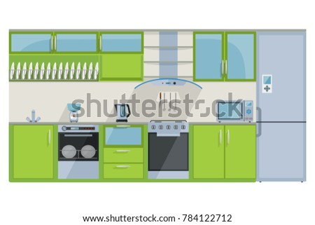 detailed illustration of a fully equipped kitchen in green