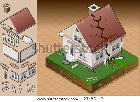 Detailed illustration of a house hit by earthquake.