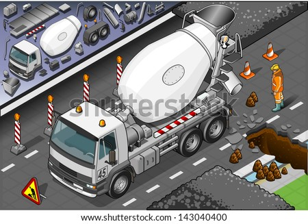 Detailed illustration of a isometric cement mixer truck in front view