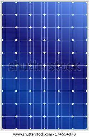 Detailed illustration of blue silicon photovoltaic electric solar panel texture