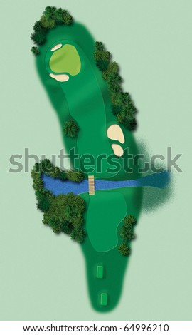 Detailed illustration showing all relevant elements of a golf lane in aerial view