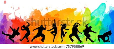 Detailed illustration silhouettes of expressive dance people dancing. Jazz funk, hip-hop, house dance lettering. Dancer.