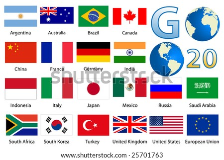 Detailed industrialized country flags and world map manually traced from public domain map