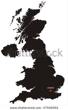 Detailed isolated map of United Kingdom black and white.