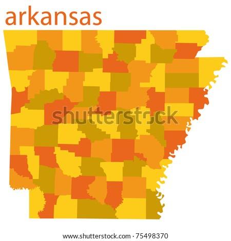 detailed map of arkansas state, usa