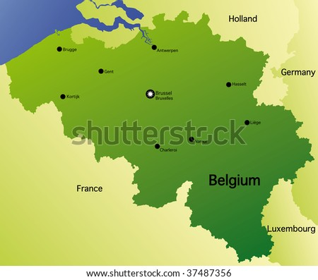 detailed  map of belgium - stock photo