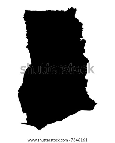 Detailed map of Ghana, black and white. Mercator Projection.