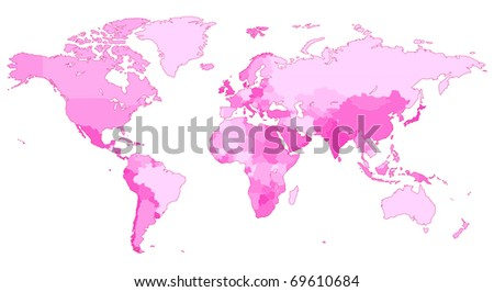 Detailed map of the World with countries in pink colors. Raster version. Vector version is also available.