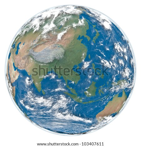 Detailed model of Earth with clouds and atmosphere isolated on white background facing southeast Asia. Elements of this image furnished by NASA
