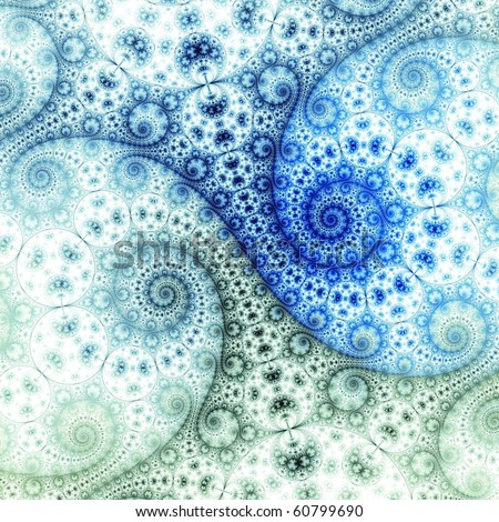 Detailed Navy, blue and green abstract fractal spirals on white background