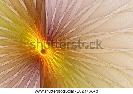Detailed orange and red abstract woven flower on white background