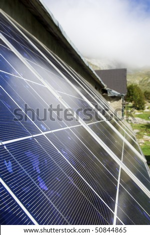 detailed perspective of a solar panel on the roof of a house