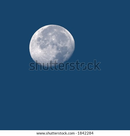 Detailed Photo of Full Moon in Daylight with Copy Space