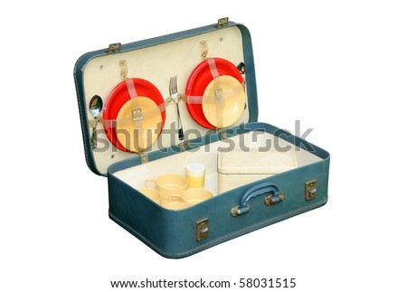 Detailed photo of vintage (1940s/50s picnic set in case, isolated on a pure white background