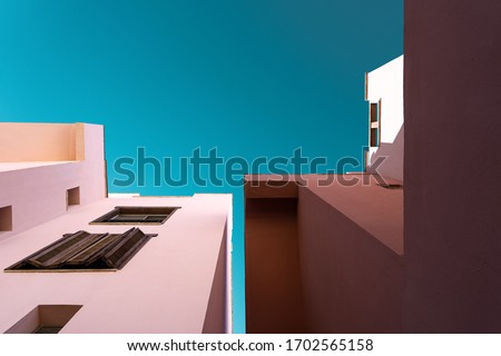 Detailed pictures of exterior urban architecture. Minimal modern geometric architecture shape.Element of architecture. Light and shadow.Geometric template.