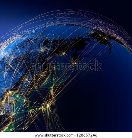Detailed planet Earth at night with embossed continents. Earth is surrounded by a luminous network, representing the major air routes based on real data. Elements of this image furnished by NASA
