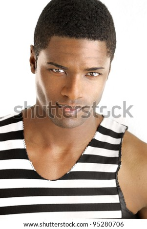 Detailed portrait of a young black man in trendy clothing against white background