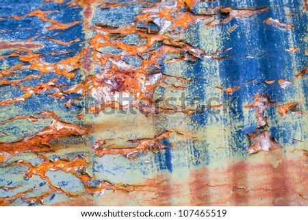 Detailed rust and paint metal surface abstract background texture
