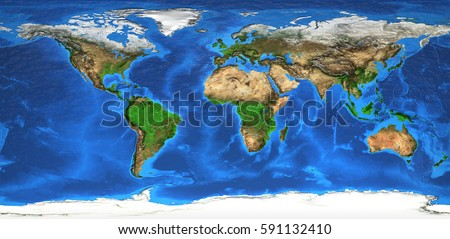 Detailed satellite view of the Earth and its landforms. Global world map. Elements of this image furnished by NASA