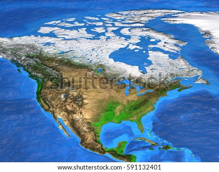 Detailed satellite view of the Earth and its landforms. North America map. Elements of this image furnished by NASA