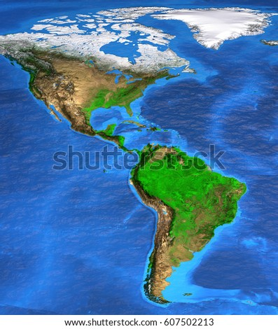 Detailed satellite view of the Earth and its landforms. North and ...