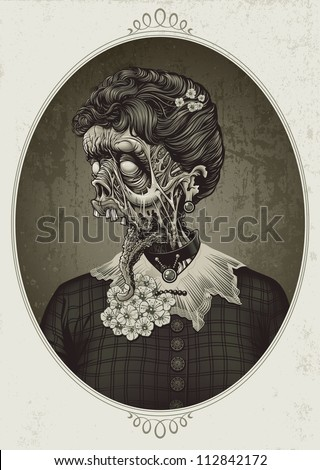 Detailed sepia toned vector illustration of a late 19th century zombie woman dressed in typical colonial attire Face decay exposes muscle tissue under torn rotting flesh