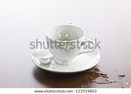 Detailed shot of a empty wet tea cup on wooden table.