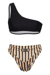 Detailed shot of a two-piece swimsuit consists of a black sport bra with one shoulder strap and striped multicoloured bikini. The bikini belt is equipped with a plastic clasp.