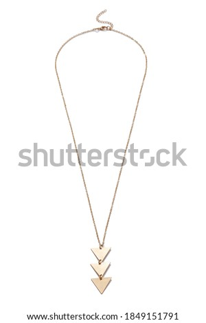 Detailed shot of golden necklace made as thin chain with three hanging metal triangles. The stylish jewelry is isolated on the white background.  Foto d'archivio ©