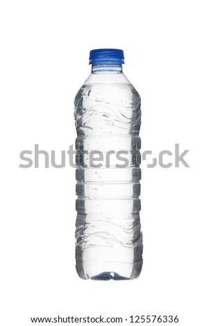 Detailed shot of plastic water bottle on white background. - stock photo