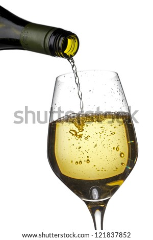 Detailed shot of wine bottle pouring wine in wine glass.