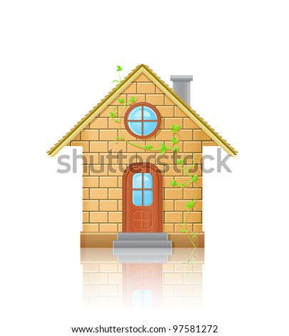 Detailed Small House Illustration. Front View