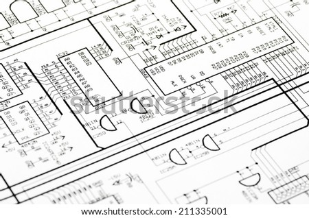 Detailed technical drawing with a lot of calculations.