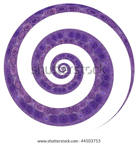 Detailed, textured purple spiral on white background